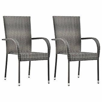 vidaXL Garden Chairs Stackable 2 pcs. Grey Poly Rattan