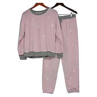 Splendido set di pigiama pullover Hacci stampato da donna rosa A391480