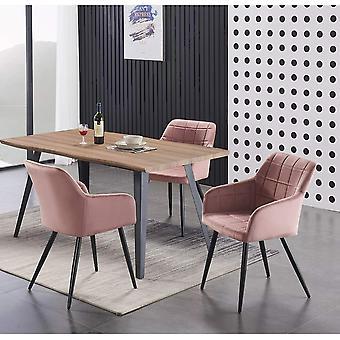 Lusso & Carmello Dining Set | Modern Dining Table | Velvet Dining Chair | Modern Set |  (oak & Pink)