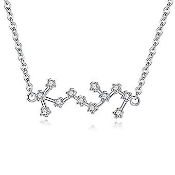 Gemshadow Zodiac sterling 925 silver necklace with star-shaped cubic zirconia sign jewelry birthday gifts for Ref. 0645249404501