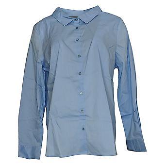 بروك شيلدز الخالدة قميص المرأة بوبلين زر الجبهة الزرقاء A306914