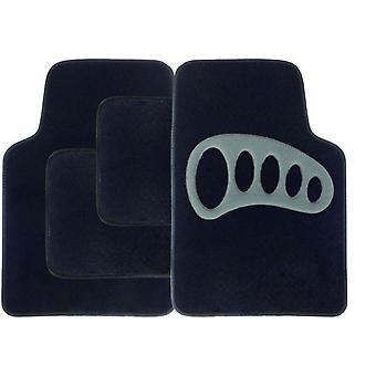 Streetwize Carpet Mat Set - 4 Piece Black with Grey Heel Pad