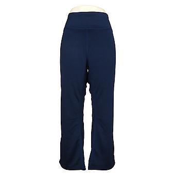 Denim &co. kvinners petite bukser reversibel strikket boot-cut blå A309496