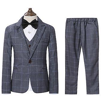 オールザメン少年のパーティー卒業式 スリーピースプレイドドレススーツ(ブレザー+ベスト+パンツ)
