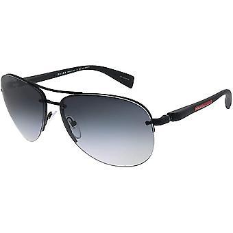 Prada Linea Rossa PS 56MS DG05W1 Black Metal Aviator Grey Polarized Sunglasses