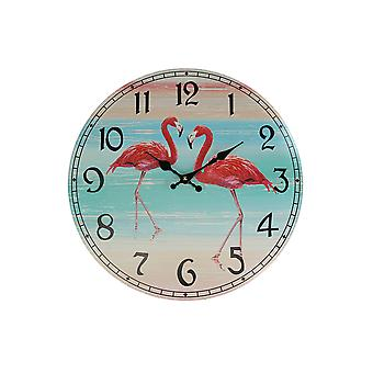 16 Inch Decorative Pink Flamingo Analogue Wall Clock Battery Operated Room Decor