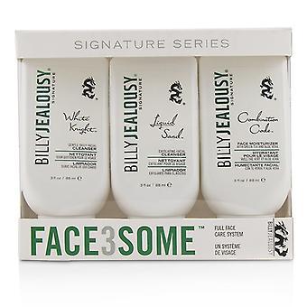 Billy svartsjuka Face3Some Kit: Face Moisturizer 88ml + exfolierande ansiktsrengöring 88ml + skonsam daglig ansiktsrengöring 88ml 3st