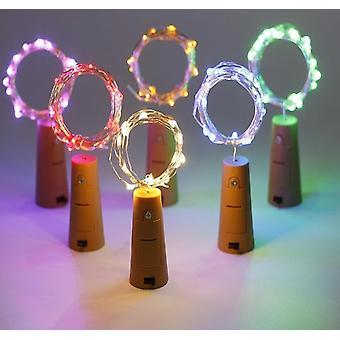 زجاجة النبيذ حبل ضوء أدى غارلاند كورك الشكل 10pcs 100 Led 4 اللون