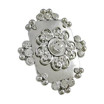 Smukke Chunky Silvertone Rhinestone Stretch Ring