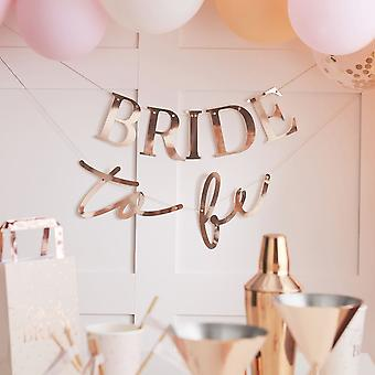 Rose Gold Bride To Be Hen Party Banner Bunting 3m Decoration