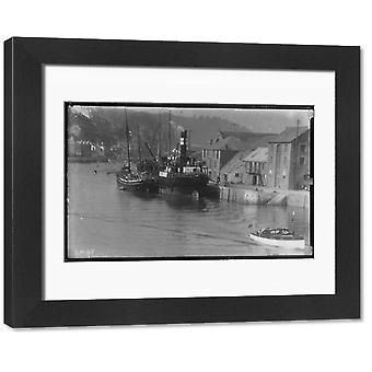 Steamboat moored at East looe Quay for cargo. Framed Photo. Cargo on quay.