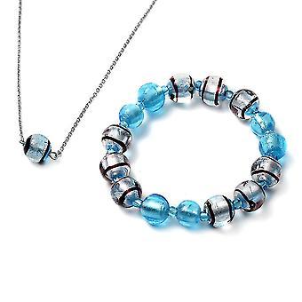 TJC Beaded, Perler Smykker Sæt til Kvinder 21 '' Blå Murano Glas i rustfrit stål Blåt glas