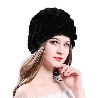 Mimigo echte Kaninchen Pelz Hut Winter warme Frauen stricken Caps Rex Kaninchen Pelz Haarhüte Hand made