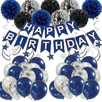Set di palloncini navy con decorazione per festa di compleanno in palloncino di carta blu