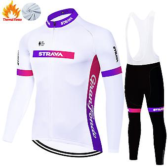 Strava Men's Thermal Fleece Cycling Jersey Set + 3d Pants Trousers /purple