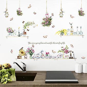 Blue Flower Vase Wall Stickers Bedroom Mural (dimensioni: 110cm X 80cm)