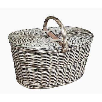 Djupt antika tvätta Oval picknickkorg