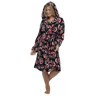 Ladies Wolf & Harte Warm Fleece Rose Print Soft Wrap Over Nightwear Bathrobe Dressing Gown