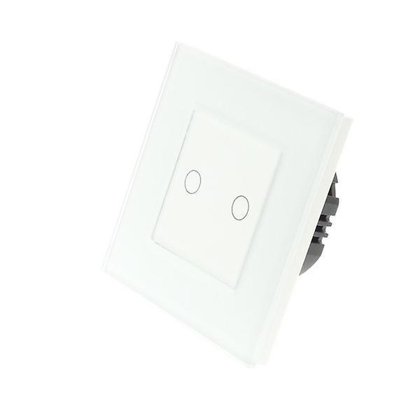 I LumoS White Glass Frame 2 Gang 2 Way Touch LED Light Switch White Insert