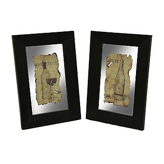 تعيين إطار أسود 2 قطعة مرآة الحائط النبيذ خمر