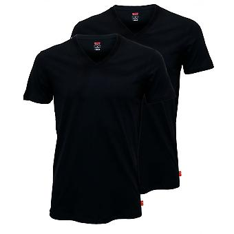 Levi's 2-Pack 200sf V-Neck T-Shirts Comfort-Fit, Black