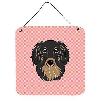 Checkerboard Pink Longhair Black and Tan Dachshund Wall or Door Hanging Prints