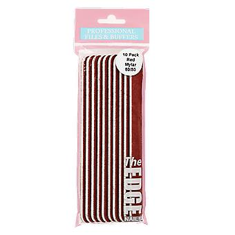 The Edge Nails Red Mylar Files 80/80 (10 Pack)