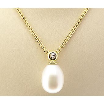 Pingente de ouro com pérola e diamante