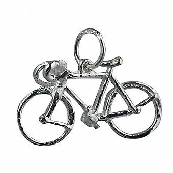 Silver 13x22mm Bicycle Pendant or Charm