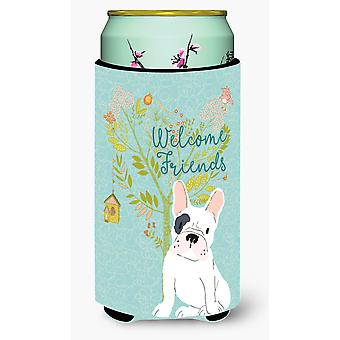 Welcome Friends Piebald French Bulldog Tall Boy Beverage Insulator Hugger