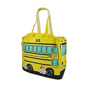 الحافلة المدرسية الصفراء المعزولة قماش جراب
