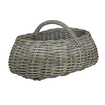 Cesta de mercado cinzento do Rattan