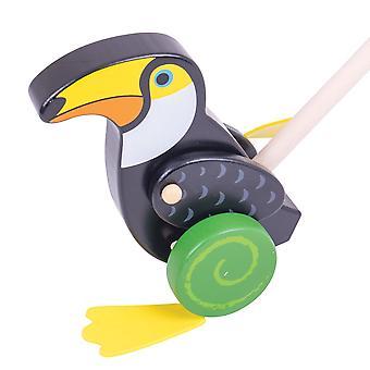Bigjigs giocattoli in legno Toucan spingere lungo camminare Walker mobilità giocattolo