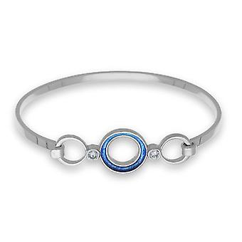 Sterling Silver Scottish Blue Marine Enamel New Dawn Hand Crafted Bangle - Cubic Zirconia Stones