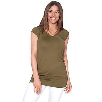 KRISP KRISP damer låg snittet slätt höft långa raden överst T skjorta tunika sommarsemester 7604
