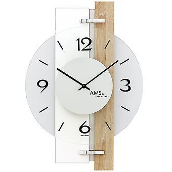 Wand klok kwarts hoogglans witte houten Sonoma optica met aluminium en glas