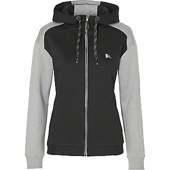 ONeill Colour block zippad Hoody i svart aop W/grå