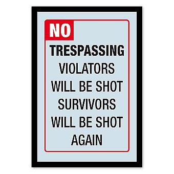 No. trespassing wall mirror with black plastic framing wood.