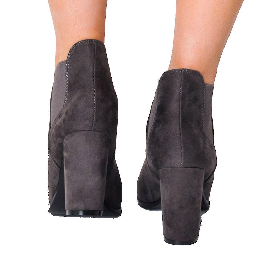 Faux Suede Heeled Ankel Boots Grå