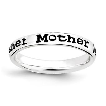 925 Sterling Silver Patterned Black Enamel Rhodium-plated Stackable Expressions Polished Enameled Mother Ring - Ring Siz