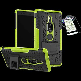 For Sony Xperia XZ2 premium hybrid case 2 piece green bag case + tempered glass new