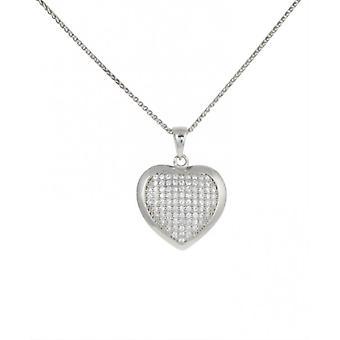 Cavendish CZ Français et argent Sterling pendentif coeur par une ligne convexe sans chaîne