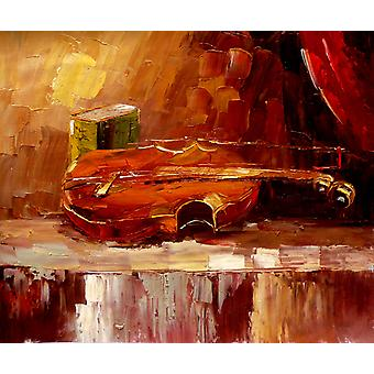 Book and violin, oil painting on canvas, 50x60 cm