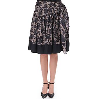 Essentiels Knee Length Floral Skirt With Waist Tie