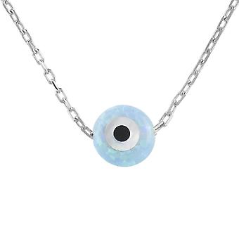 Latelita Small Mini Evil Eye Pendant Necklace Opal Blue 925 Sterling Silver Gold