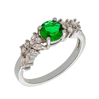 Bertha Juliet Collection Women's 18k WG Plated Green Cluster Fashion Ring Size 7