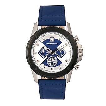 Morphic M57 Series Chronograph Leather-Band Watch - Silver/Blue
