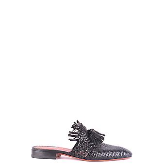 Santoni P18wubv57370ha1sm Women's Black Leather Slippers