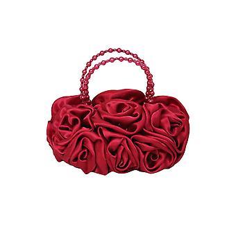 Red Satin Ruffle Rose Flower Girls Handbag