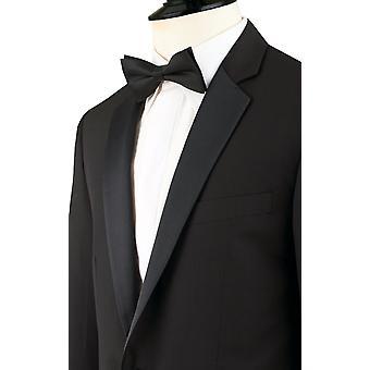 Dobell Mens Black 2 pièce smoking Regular Fit 100 % laine Notch Lapel
